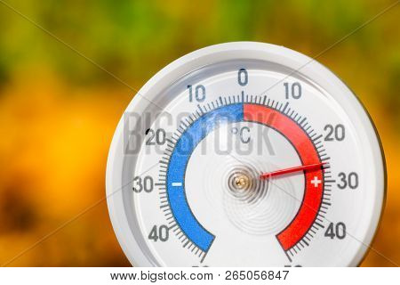 Outdoor thermometer  with celsius scale showing warm temperature - hot indian summer or global warming concept