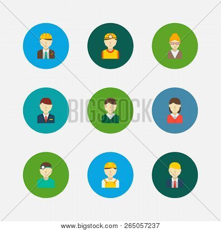 Occupation Icons Set. White Worker And Occupation Icons With Teacher, Hotel Receptionist And Dentist