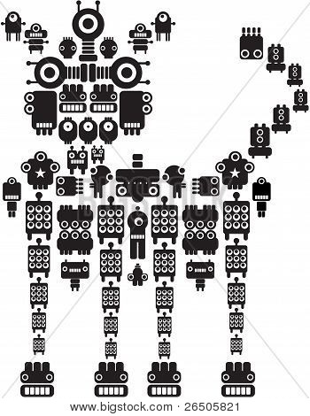 The monster made of small robots. Vector illustration of cat. poster
