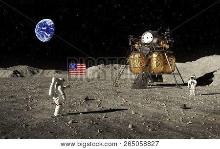Astronauts Set An American Flag On The Moon. 3d Illustration.
