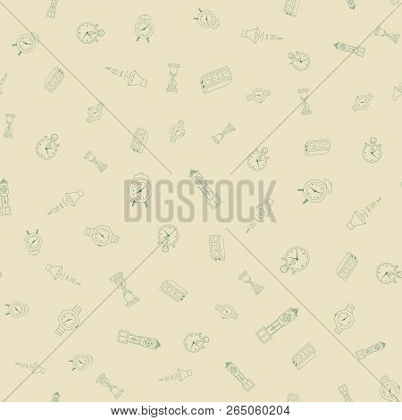 Time Freehand Drawings Seamless Pattern. Clocks Pattern In Doodle Style. Hand Drawn Elements Doodles