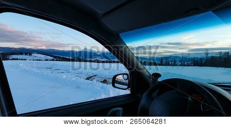 Evening Twilight Winter Chornohora Mountain Ridge Scenery View Through Car Windshield, Ukraine, Carp