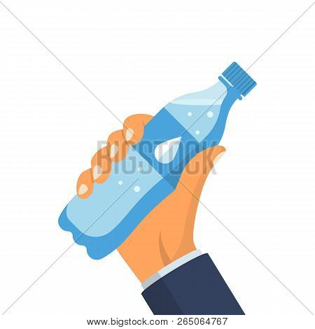 Bottle Of Water Holding In Hands Of A Man. Vector Illustration Flat Design. Isolated On White Backgr