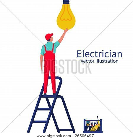 Electric Is Standing On The Ladder Screwing The Lamp. Vector Illustration Flat Design. Connecting Po