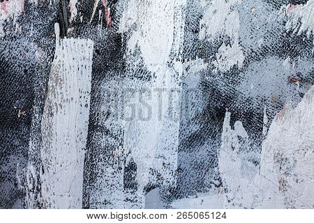 Purple And White Patterned Texture Background. Large Brush Strokes. Contrast Relief Surface. Heterog