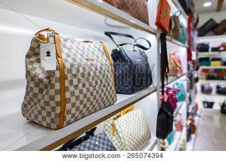 Alanya / Turkey - September 30, 2018: Louis Vuitton Handbags Stans In A Shop In Alanya