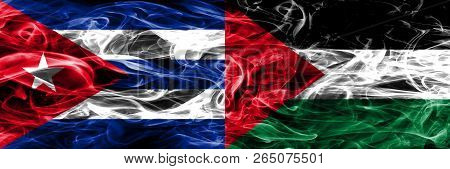 Cuba, Cuban Vs Palestine, Palestinian Smoke Flags Placed Side By Side. Concept And Idea Flags Mix