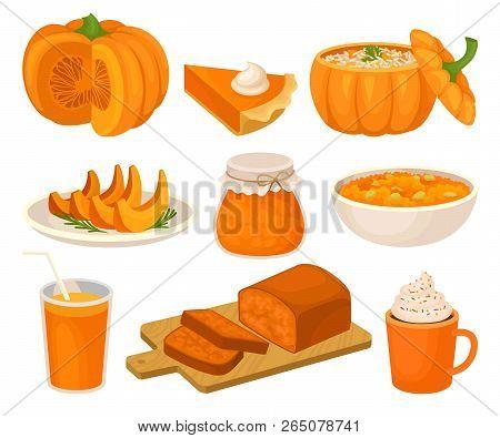 Pumpkin Dishes Set, Pie, Jam Jar, Fruitcake, Porridge, Spice Whipped Latte, Smoothie Vector Illustra