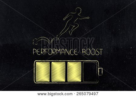 Menatl Health And Positivity Conceptual Illustration: Performance Boost Battery With Man Running Or