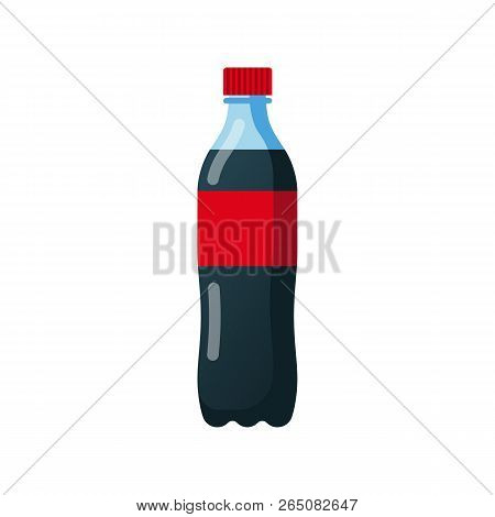 Bottle Of Soda. Cola In Plastic Tarre. Vector Illustration Flat Design. Isolated On White Background