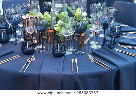 A table is set for an elegant dinner