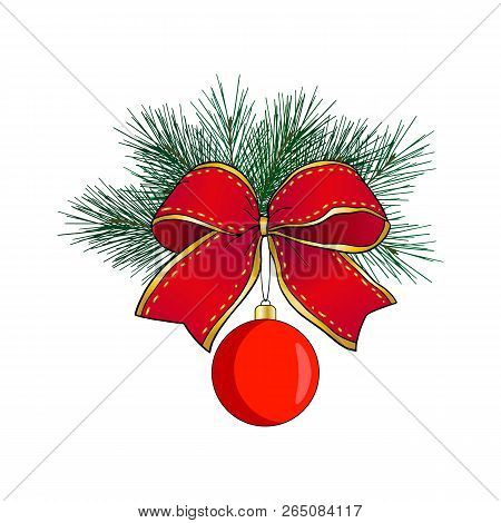 Christmas Wreath Isolated On White Background. Red Christmas Ball With Pine Branch And A Bow Of Gold