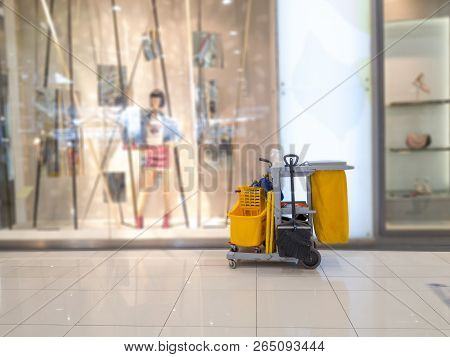 Cleaning Tools Cart Wait For Cleaner.bucket And Set Of Cleaning Equipment In The Department Store. J
