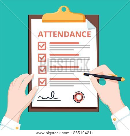 Man Hold Attendance Clipboard With Checklist. Questionnaire, Survey, Clipboard, Task List. Flat Desi