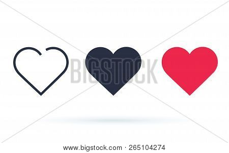 Like And Heart Icon. Live Stream Video Chat, Likes Buttons. Social Nets Red Heart Web Buttons Isolat