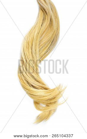 Beautiful Blond Hair, Isolated On White Background. Long Blonde Hair Tail, Healthy Hair, Design Elem