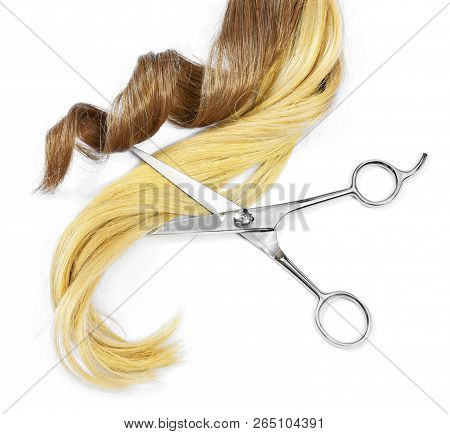 Beautiful Brunette And Blonde Hair Tails And Scissors, Isolated On White Background. Long Brown And