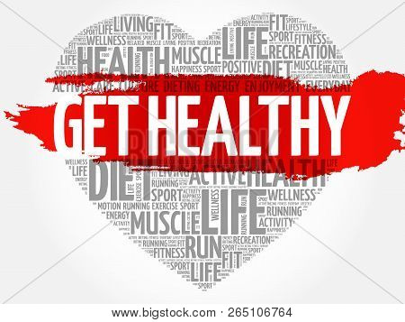 Get Healthy Heart Word Cloud, Fitness, Sport, Health Concept