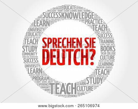 Sprechen Sie Deutch? (do You Speak German?) Word Cloud, Education Business Concept