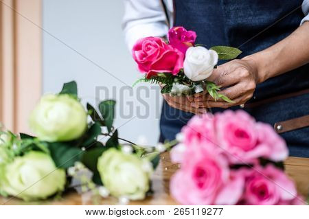 Arranging Artificial Flowers Vest Decoration At Home, Young Woman Florist Work Making Organizing Diy