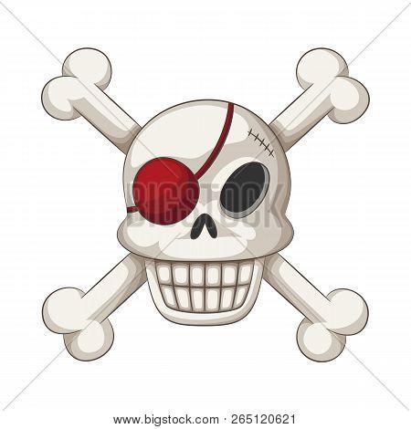 Funny cartoon skull with eye batch and crossbones, vector illustration poster