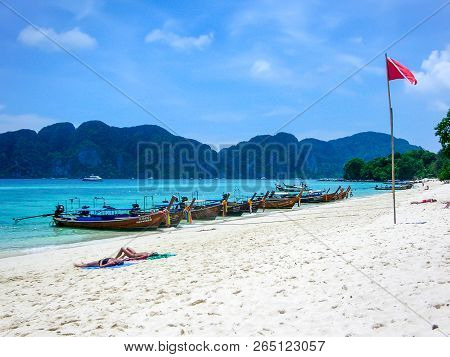Phi Phi Islands, Thailand - April 07, 2009: Long-tail Boats On A Beach Of Koh Phi Phi Don, Phi Phi I