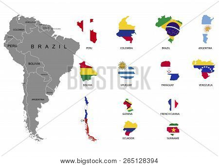 South America. Territories Of Countries On South America Continent. Separate Countries With Flags. L