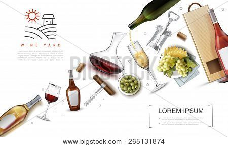 Realistic Wine Elements Composition With Bottles Glasses Of Wine Corks Paper Bag Corkscrews Green Ol