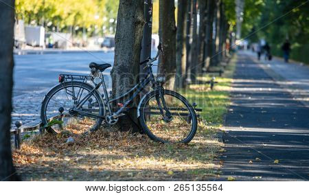 Healthy lifestyle concept. Bicycle is parked and locked for security on a tree. Blur people and nature background.