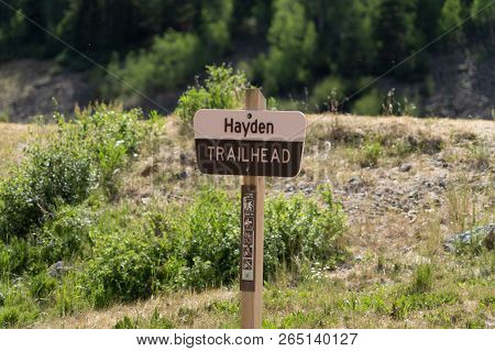 Sign For The Hayden Trailhead, A Hiking Trail Near The Red Mountain Creek In Ouray Colorado. Uncompa