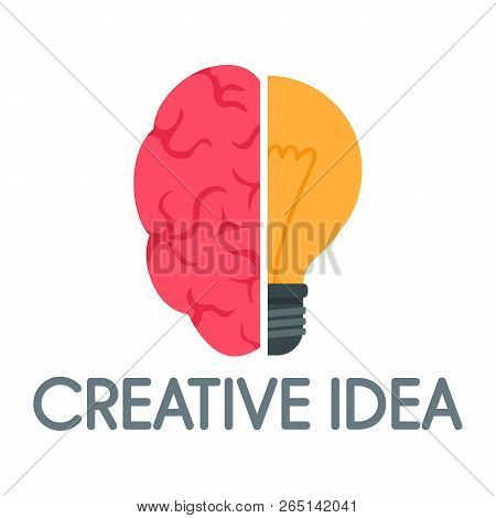 Creative Idea Mind Logo. Flat Illustration Of Creative Idea Mind Logo For Web Design