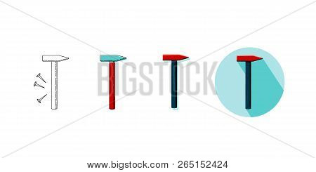 Vector Illustration Set Of Household Tool Hammer In Four Styles. Icons Of Hammer On Turquoise Backgr