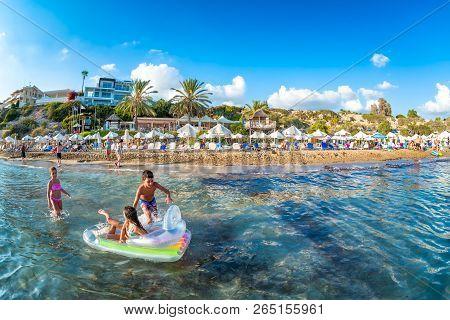 Paphos, Cyprus - August 20, 2017: Coral Bay Beach Located Near Pegeia Village.