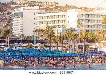 Paphos, Cyprus - August 09, 2018: Pantachou Beach Full Of People During Peak Season.