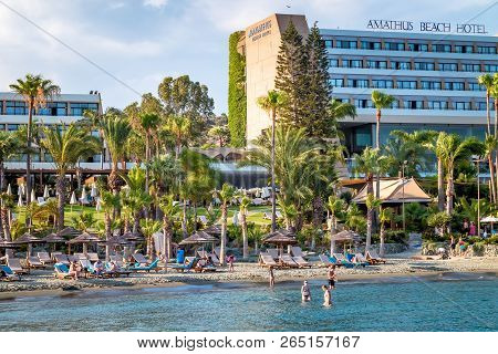 Kyrenia, Cyprus - August 10, 2018: View Of Seafront Hotels And Tourists On Beach.