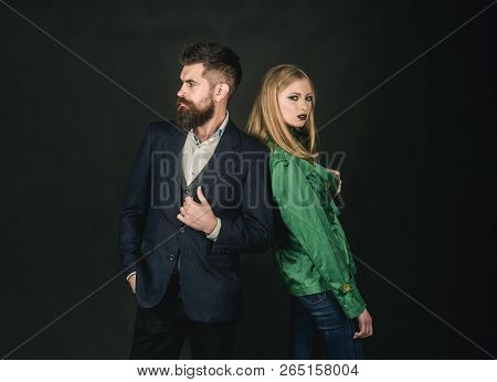 Confident In Their Choice. Fashion Couple Of Sexy Woman And Bearded Man. Enjoying Friendly Relations