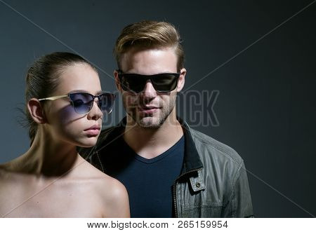 Beautifully Crafted Sunglasses. Friendship Relations. Fashion Models In Trendy Glasses. Couple In Lo