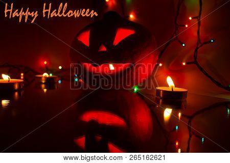 Pumpkin Halloween A Candlelit Pumpkin For Halloween. Candles And Pumpkin. Carving Carved Scary Pumpk