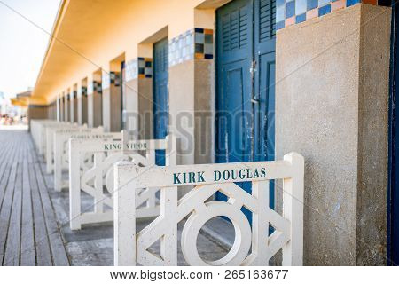 Deauville, France - September 06, 2017: Famous Locker Rooms On Planches Promenade Dedicated To Kirk