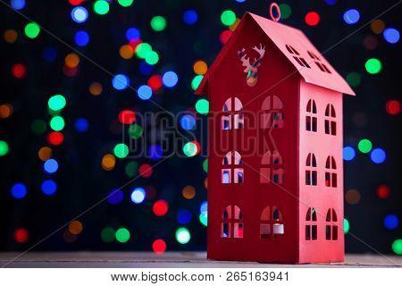 Christmas lantern with bokeh of lights - Christmas time
