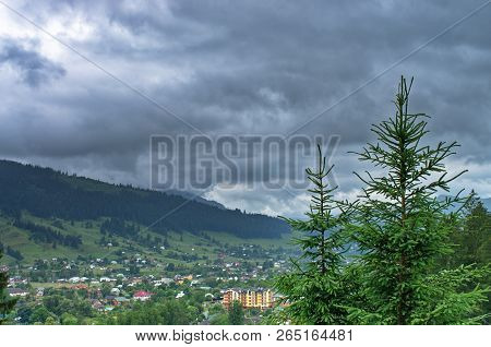 Top View Of A Village In The Mountains. Carpathians Ukraine Verkhovyna