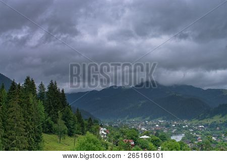 Top View Of A Village In The Mountains Verkhovyna. Carpathians Ukraine