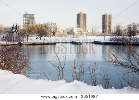 Winter Scene With Highrises