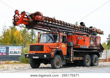 Novyy Urengoy, Russia - September 8, 2018: Mobile Drilling Rig Ipd-20t-u4 Mounted On A Truck Iveco M