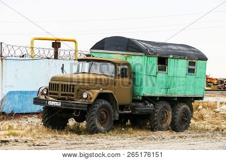 Novyy Urengoy, Russia - September 8, 2018: Soviet Offroad Truck Zil 131 In The City Street.