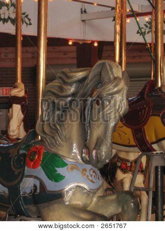 Grey Antique Carousel Horse