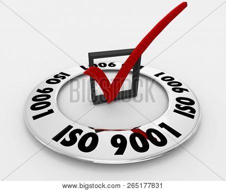 ISO 9001 Check Box Mark Certified Audit 3d Illustration