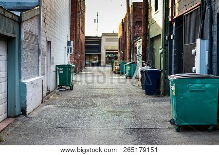 City Alley With Trash, Dumpsters, And Garbage Cans With A Brick Building In The Distance