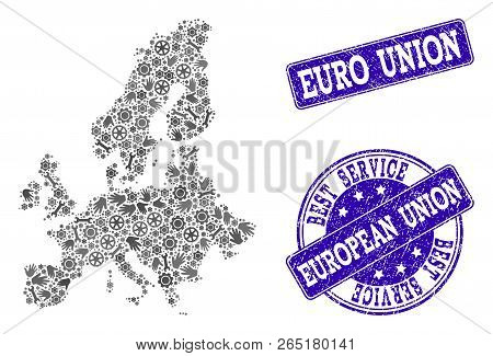 Best Service Collage Of Mosaic Map Of Euro Union And Blue Dirty Seals. Mosaic Map Of Euro Union Cons