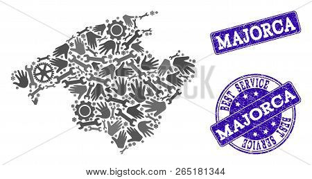 Best Service Composition Of Mosaic Map Of Majorca And Blue Dirty Seals. Mosaic Map Of Majorca Design